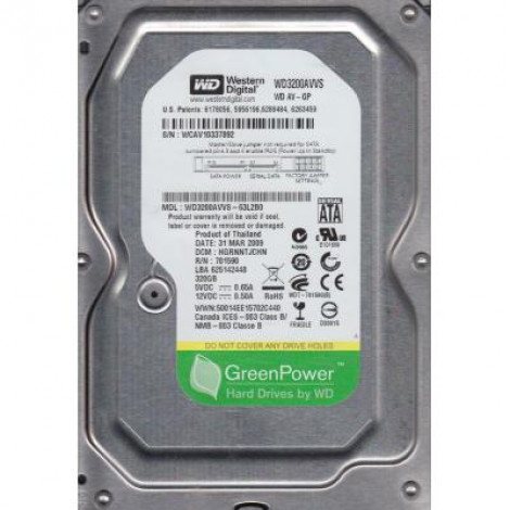 HDD SATA II 320 Gb,  8 Mb кэш, WD WD3200AVVS