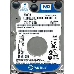 "HDD 2.5"" SATA 500 Gb,  16 Mb кэш, WD WD5000LPCX ref."